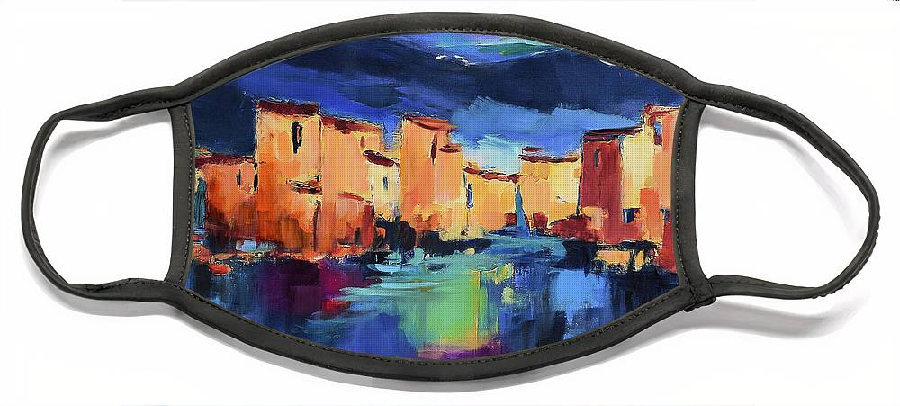 Cinque Terre Face Mask featuring the painting Sunset Over the Village by Elise Palmigiani