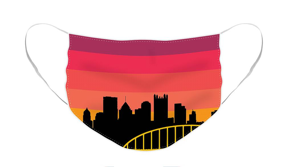 Face Mask featuring the digital art Sunset Series Five by Pittsburgh Clothing Co