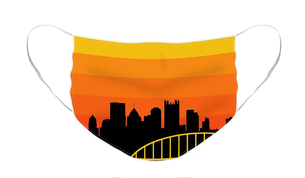 Face Mask featuring the digital art Sunset Series One by Pittsburgh Clothing Co
