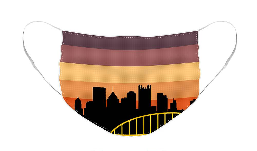 Face Mask featuring the digital art Sunset Series Three by Pittsburgh Clothing Co