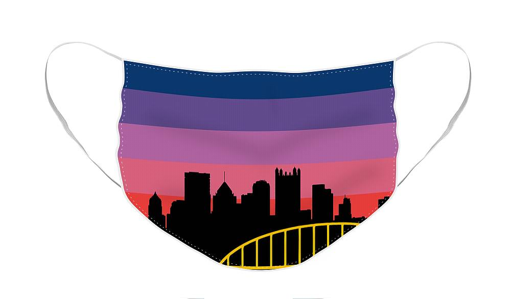 Face Mask featuring the digital art Sunset Series Two by Pittsburgh Clothing Co