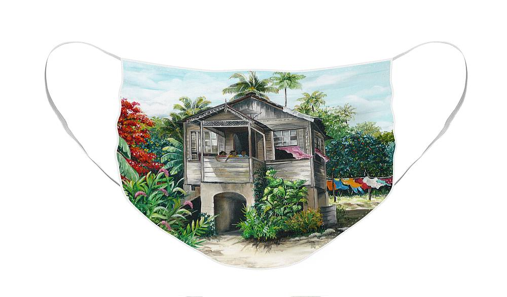 Landscape Painting Caribbean Painting House Painting Tobago Painting Trinidad Painting Tropical Painting Flamboyant Painting Banana Painting Trees Painting Original Painting Of Typical Country House In Trinidad And Tobago Face Mask featuring the painting Sweet Island Life by Karin Dawn Kelshall- Best