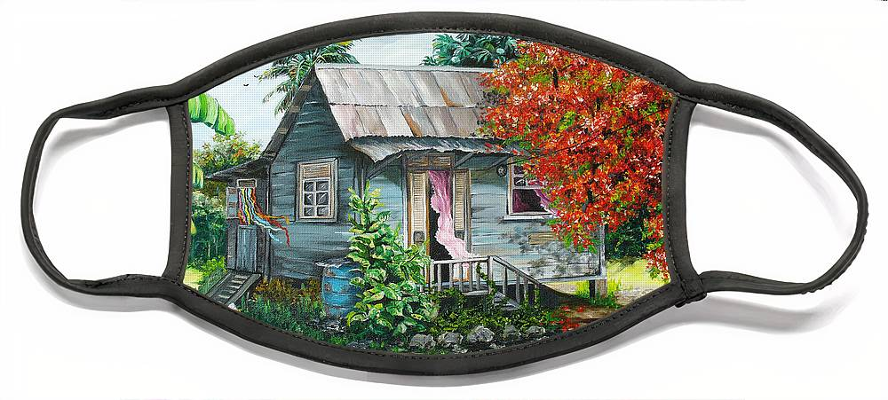 Caribbean Painting Original Painting Trinidad And Tobago ..house Painting Flamboyant Tree Painting Red Blossoms Painting Floral Painting Tree Painting Tropical Painting Face Mask featuring the painting Sweet Tobago Life. 2 by Karin Dawn Kelshall- Best