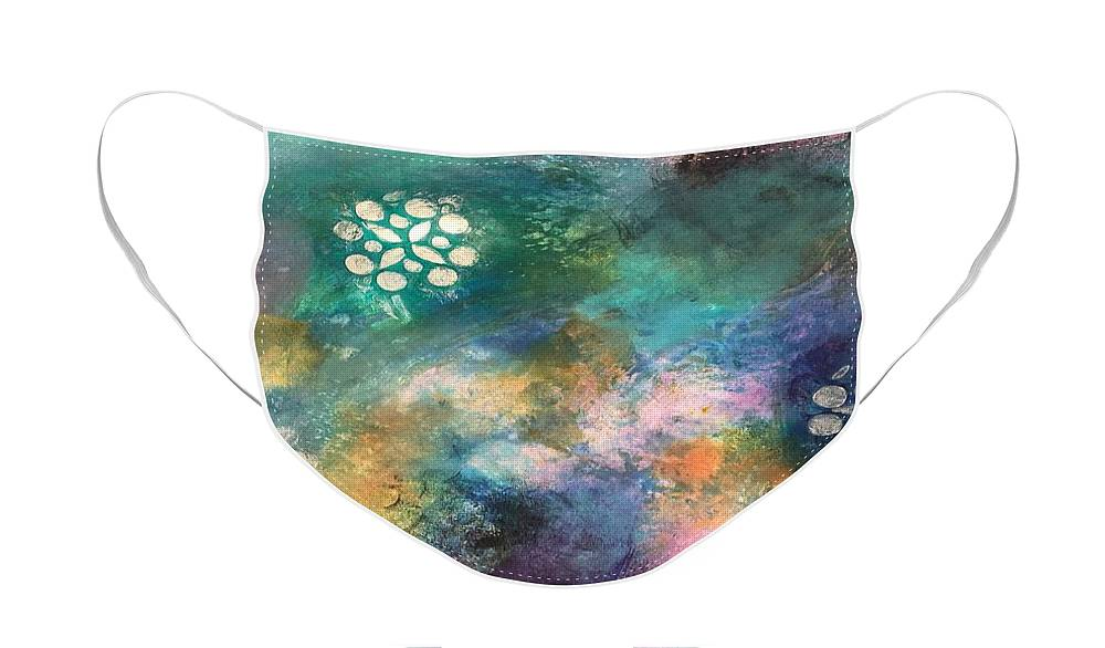 Abstract Face Mask featuring the painting Swirligig by Carolyn Rhinebarger