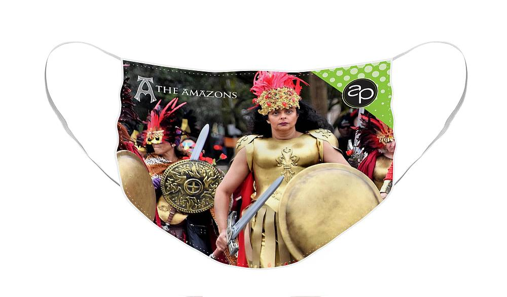 Art Of The Parade Face Mask featuring the digital art The Amazons by Art of the Parade Society