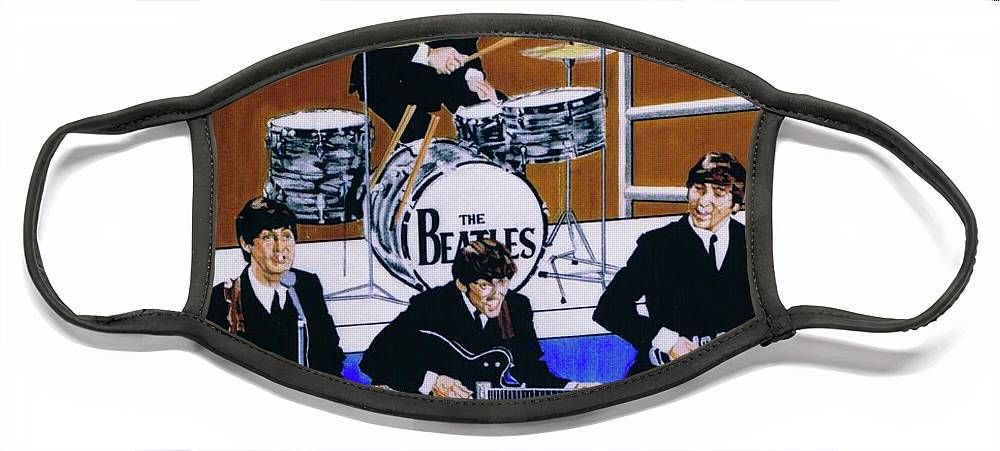 The Beatles Live Face Mask featuring the drawing The Beatles - Live On The Ed Sullivan Show by Sean Connolly