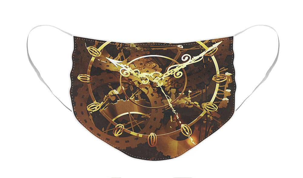 Acrylic Face Mask featuring the painting The Big Golden Clockwork by Tithi Luadthong
