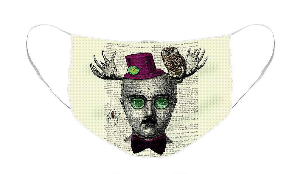 Wizard Face Mask featuring the digital art The curious wizard by Madame Memento