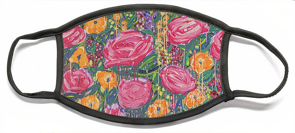 English Garden Face Mask featuring the painting The Garden by Amanda Armstrong