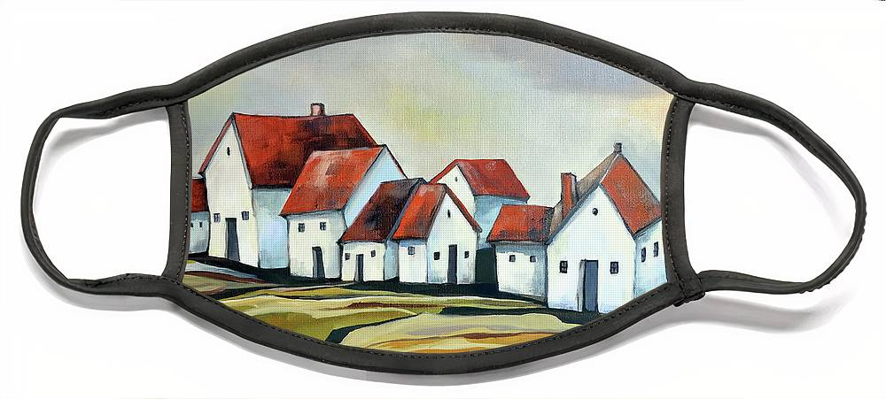 Village Face Mask featuring the painting The smallest village by Aniko Hencz