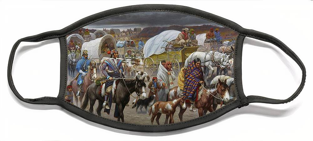 1838 Face Mask featuring the painting The Trail Of Tears by Granger