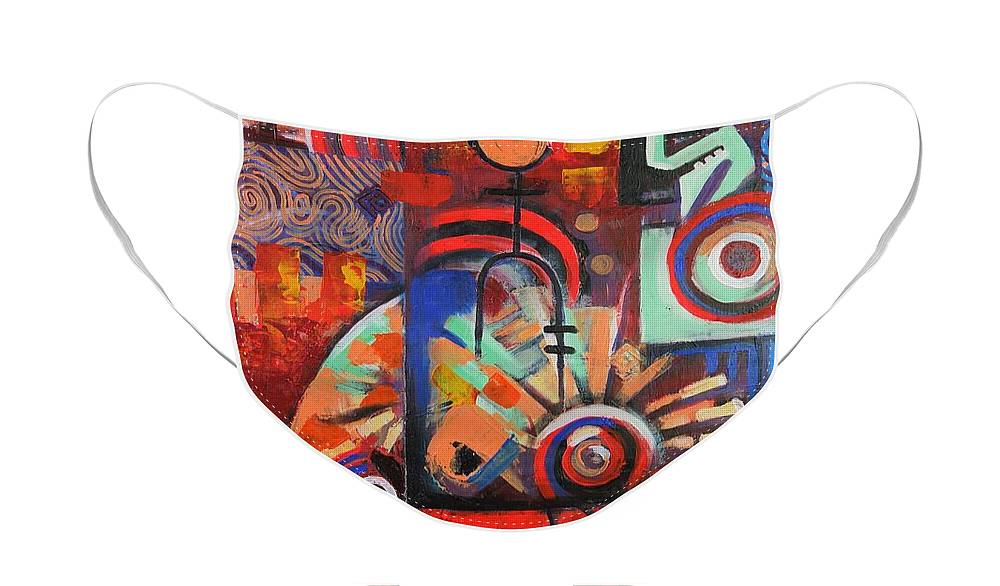Abstract Face Mask featuring the painting Things Fall Apart 3 by Mark Kainyah