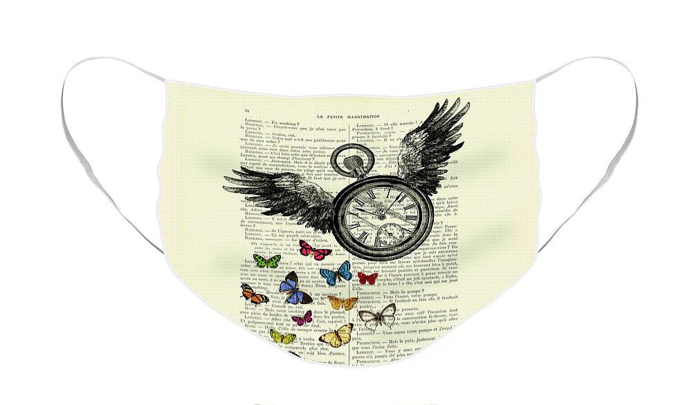 Time Flies Face Mask featuring the digital art Time flies by Madame Memento