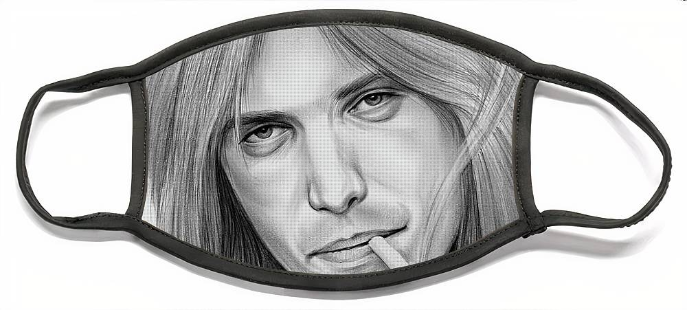 Tom Petty Face Mask featuring the drawing Tom Petty - Pencil by Greg Joens