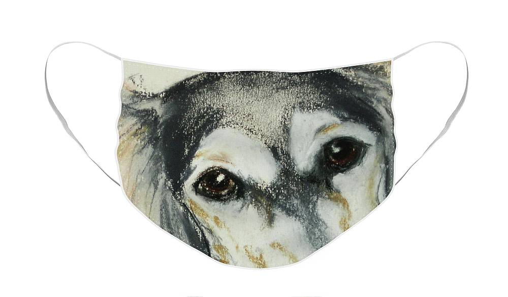 Saluki Face Mask featuring the drawing Unconditional Love by Cori Solomon