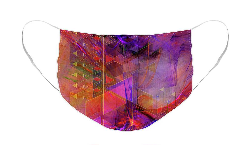 Vibrant Echoes Face Mask featuring the digital art Vibrant Echoes by John Robert Beck