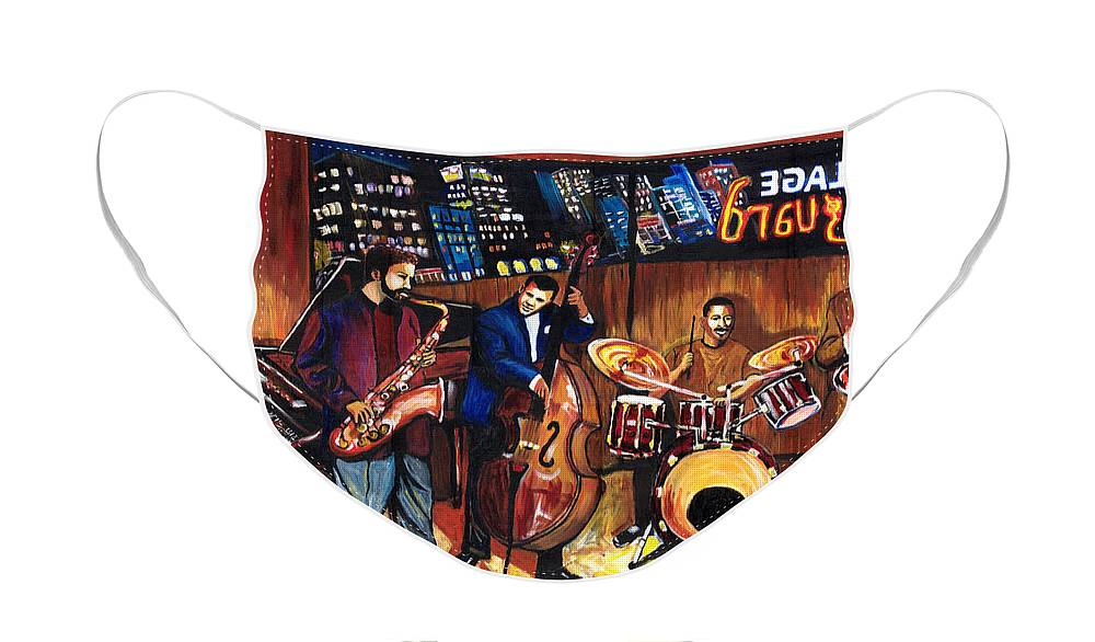 Everett Spruill Face Mask featuring the painting Village Vanguard by Everett Spruill