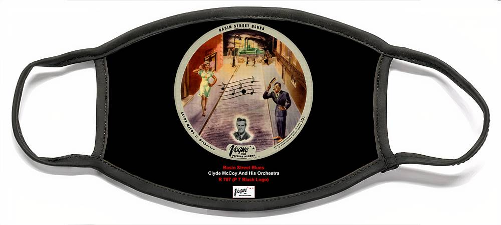 Vogue Picture Record Face Mask featuring the digital art Vogue Record Art - R 707 - P 7, Black Logo by John Robert Beck