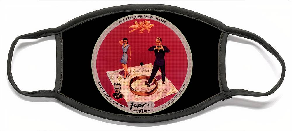 Vogue Picture Record Face Mask featuring the digital art Vogue Record Art - R 722 - P 8 - Square Version by John Robert Beck