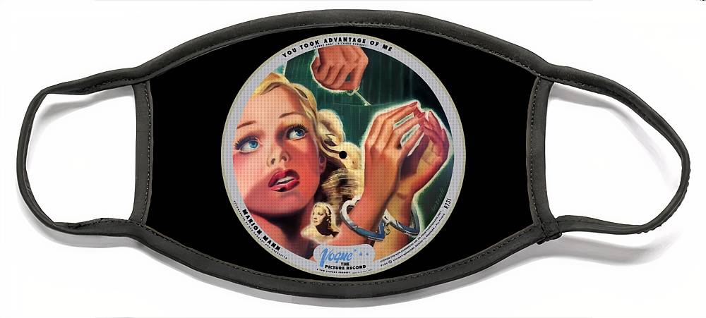 Vogue Picture Record Face Mask featuring the digital art Vogue Record Art - R 731 - P 105 - Square Version by John Robert Beck