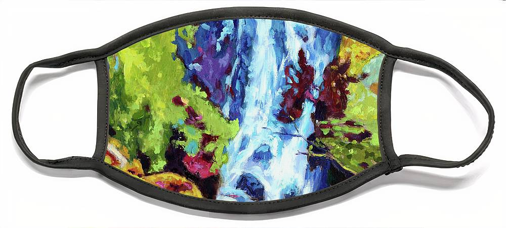 Waterfall Face Mask featuring the painting Waterfall by John Lautermilch