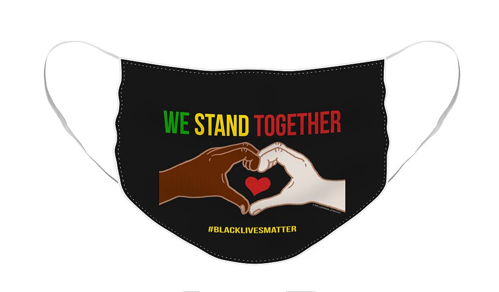 We Stand Together Face Mask featuring the digital art We Stand Together Heart Hands by Laura Ostrowski