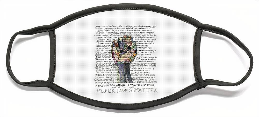 Blm Face Mask featuring the painting We will remember George Floyd by Breanna Crenshaw