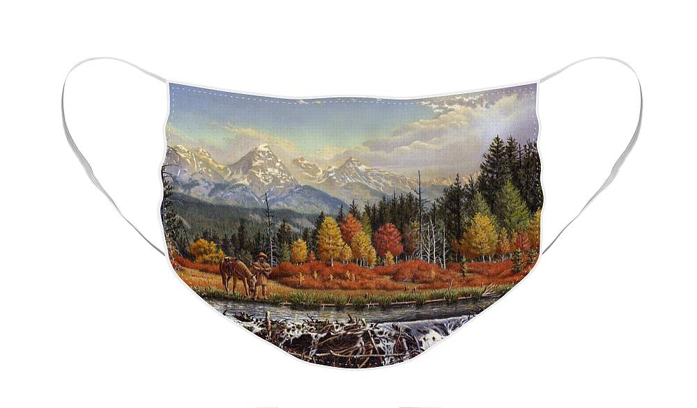 Western Mountain Landscape Face Mask featuring the painting Western Mountain Landscape Autumn Mountain Man Trapper Beaver Dam Frontier Americana Oil Painting by Walt Curlee