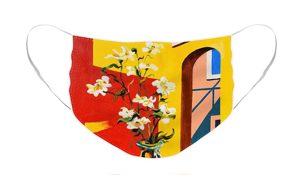 Still Life Face Mask featuring the painting Window by Sinisa Saratlic