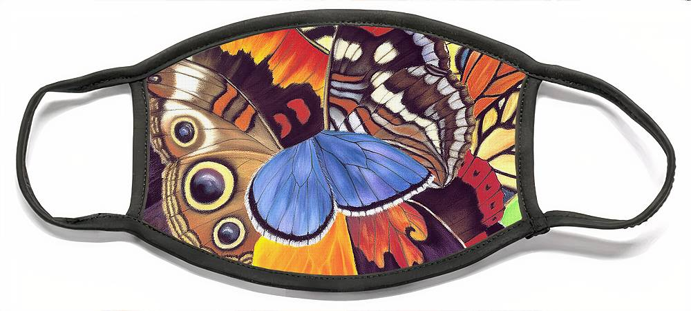 Butterflies Face Mask featuring the painting Wings Of California by Lucy Arnold