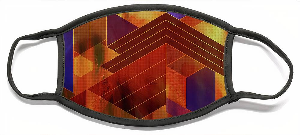 Frank Lloyd Wright Face Mask featuring the digital art Wrightian Reflections - Square Version by Studio B Prints