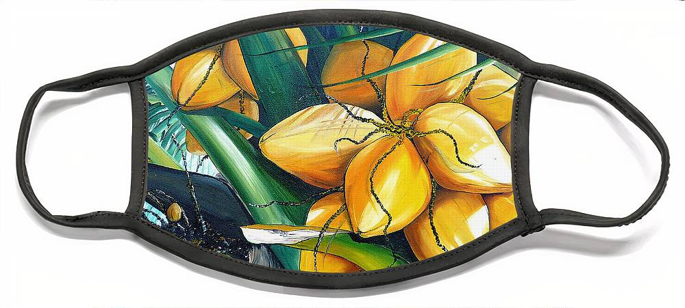 Coconut Painting Botanical Painting  Tropical Painting Caribbean Painting Original Painting Of Yellow Coconuts On The Palm Tree Face Mask featuring the painting Yellow Coconuts by Karin Dawn Kelshall- Best