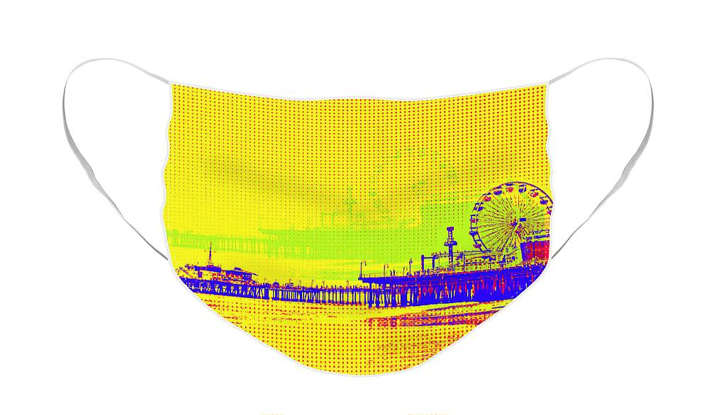 Yellow Pop Art Santa Monica Pier Cloth Face Mask