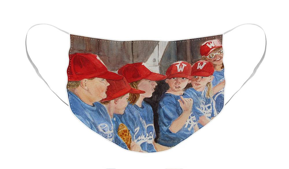 Kids Face Mask featuring the painting Yer Up by Karen Ilari