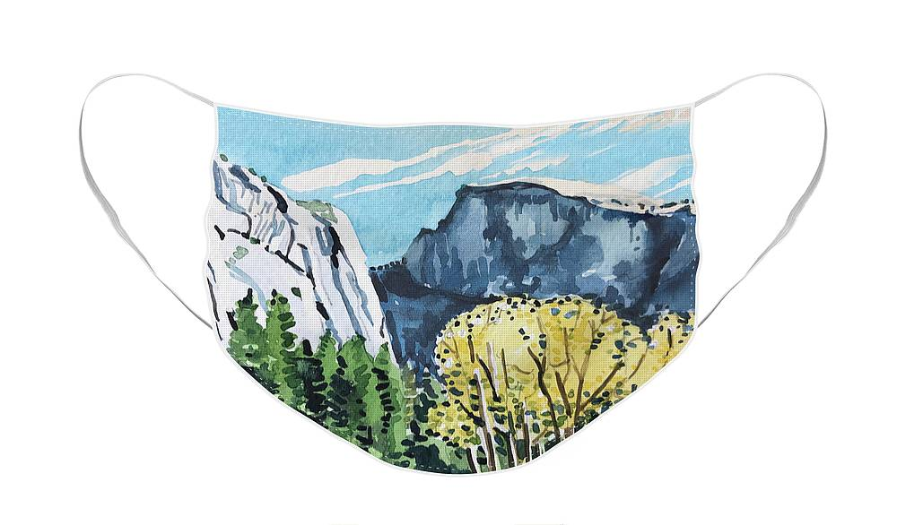 River Face Mask featuring the painting Yosemite half Dome by Luisa Millicent