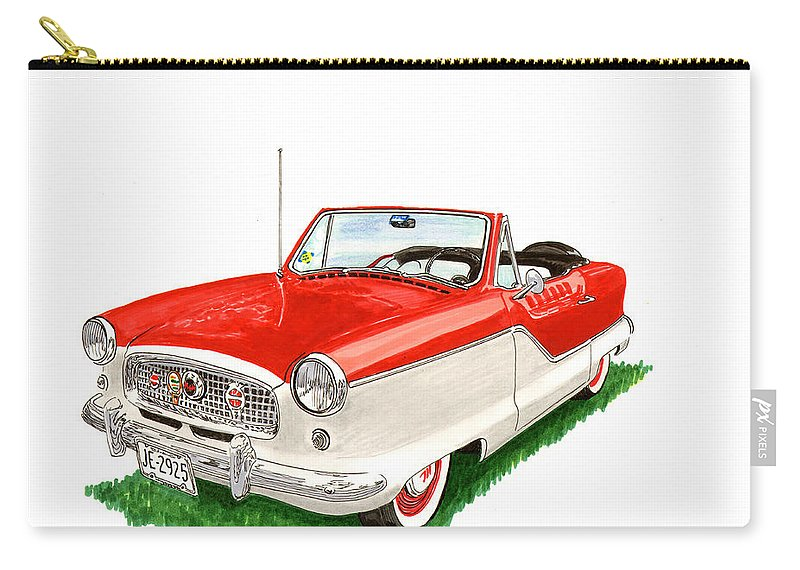 Consider Having Jack Pumphrey Do An Original Watercolor Painting Of Your Car Carry-all Pouch featuring the painting 1961 Metropolitian by Jack Pumphrey