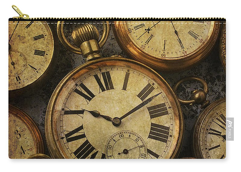 Time Carry-all Pouch featuring the photograph Aged Pocket Watches by Garry Gay