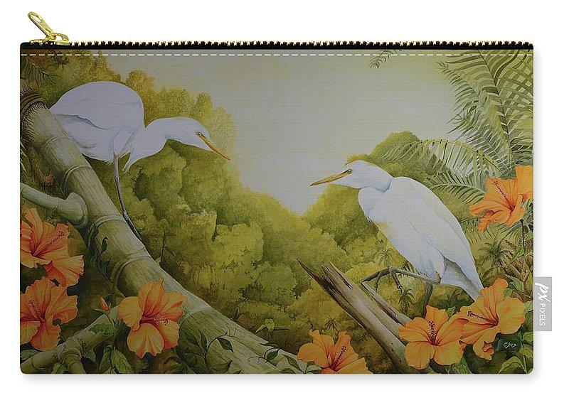 Birds Carry-all Pouch featuring the painting Aloha Kakahiaka by Charles Owens