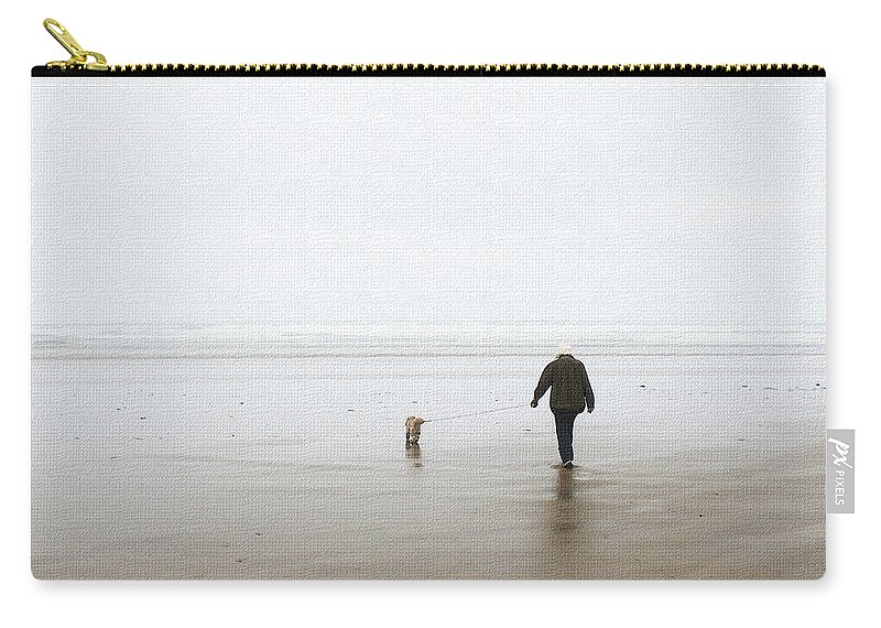 At The Beach On A Foggy Day Carry-all Pouch featuring the photograph At The Beach On A Foggy Day by Tom Janca