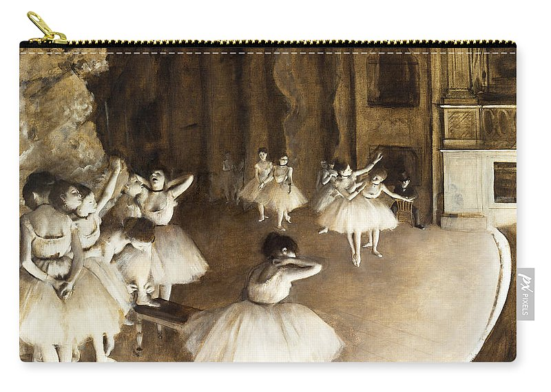 Edgar Degas Carry-all Pouch featuring the painting Ballet Rehearsal On Stage by Edgar Degas