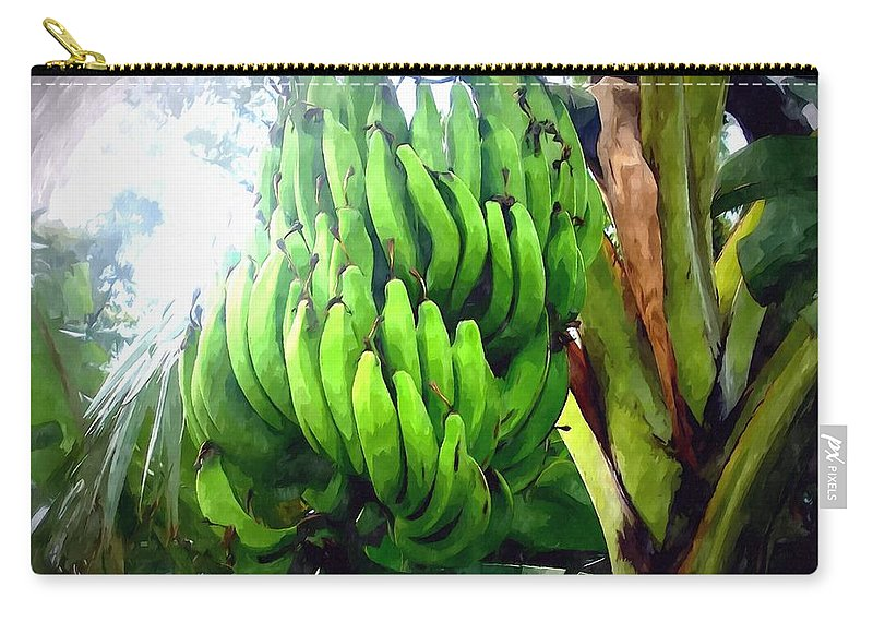 Banana Carry-all Pouch featuring the painting Banana Plants by Jeelan Clark