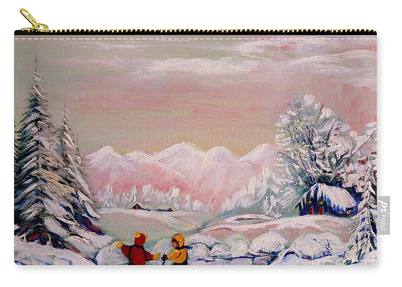 Beautiful Winter Fairytale Carry-all Pouch featuring the painting Beautiful Winter Fairytale by Carole Spandau