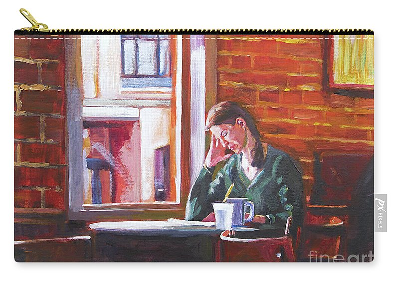 Interior Carry-all Pouch featuring the painting Bistro Student by David Lloyd Glover