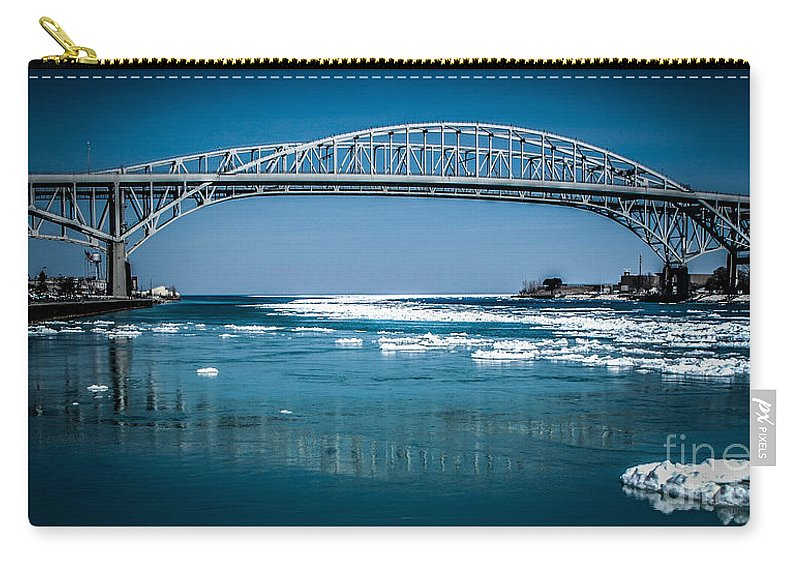 Ice Carry-all Pouch featuring the photograph Blue Water Bridges With Reflection And Ice Flow by Ronald Grogan