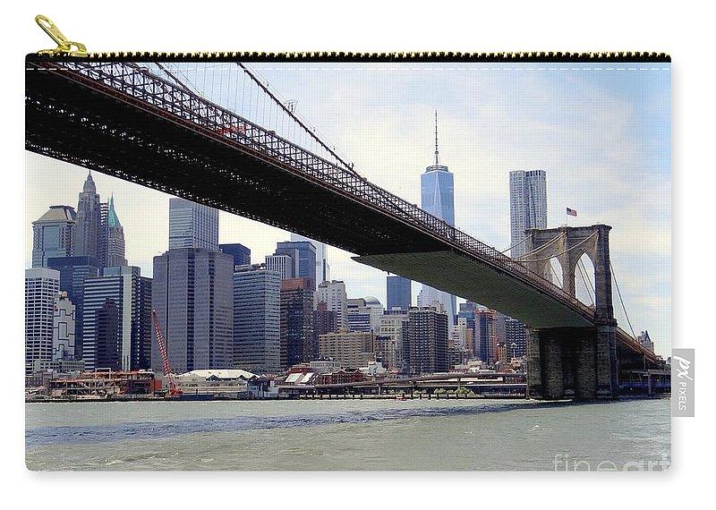 The Brooklyn Bridge Carry-all Pouch featuring the photograph Nyc Skyline-brooklyn Bridge by Ed Weidman