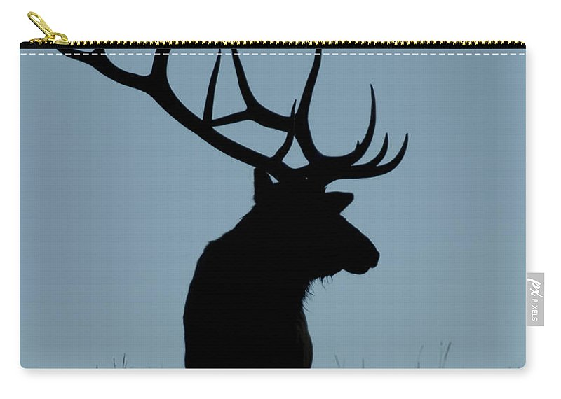 Bull Carry-all Pouch featuring the photograph Bull Elk At First Light by Gary Langley
