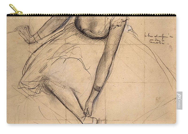 Edgar Degas Carry-all Pouch featuring the drawing 	Dancer Adjusting Her Slipper by Edgar Degas