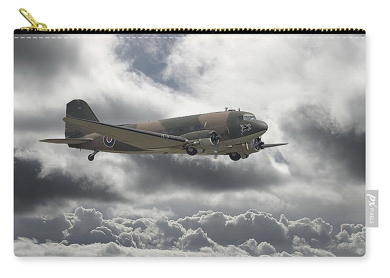 Aircraft Carry-all Pouch featuring the digital art  Dc3 Dakota  Workhorse by Pat Speirs
