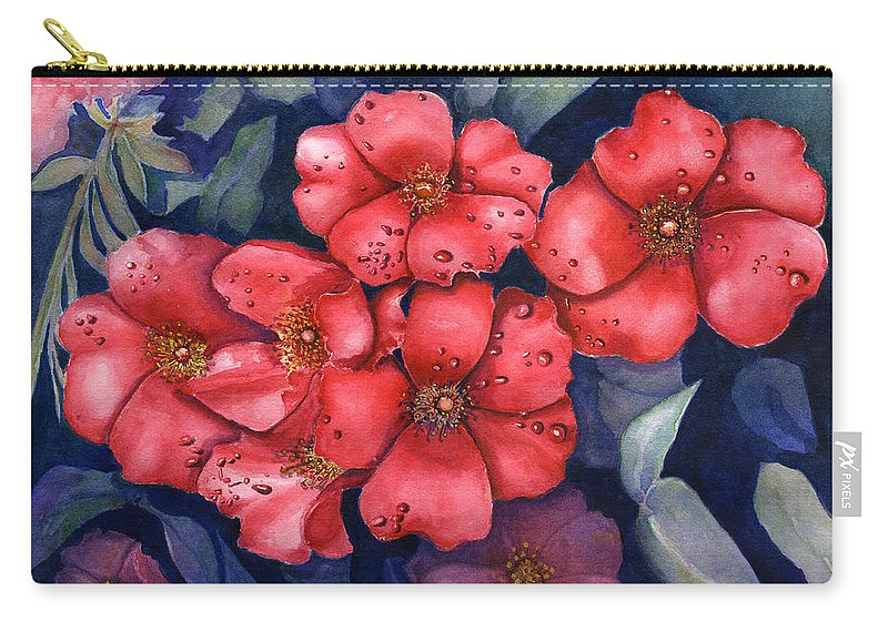 Dew Carry-all Pouch featuring the painting Dew Flowers by Jane Ricker