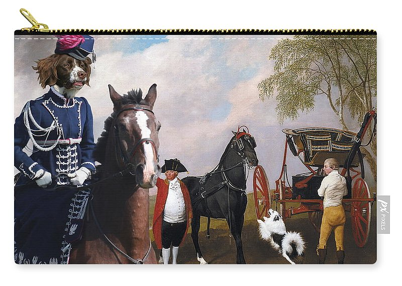 Drentse Patrijshond Carry-all Pouch featuring the painting Drentse Patrijshond Art Canvas Print - The Prince Of Waless Phaeton by Sandra Sij